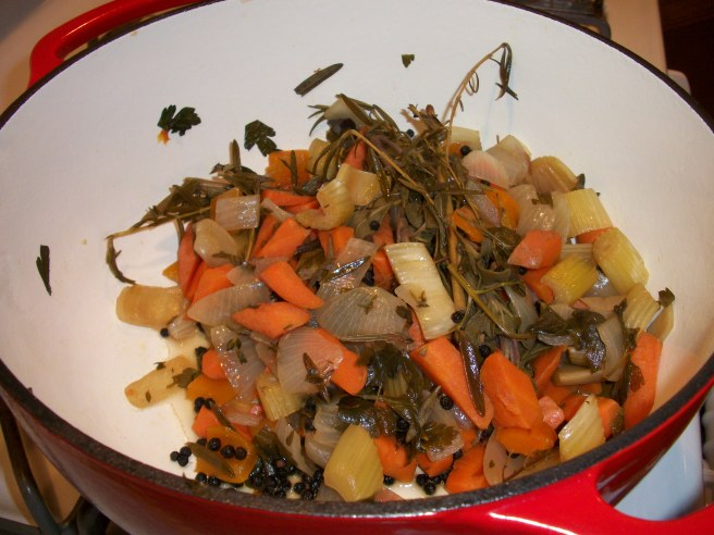 Herb & vegetables from beef stock